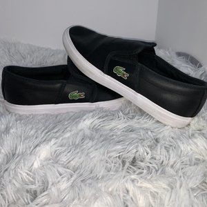 Lacoste Gazon Sport Black Leather Slip-On 8.5